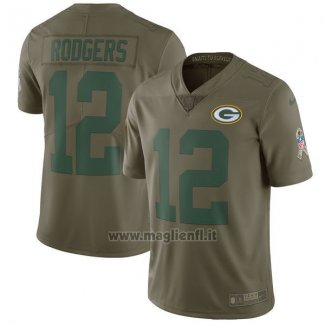 Maglia NFL Limited Bambino Green Bay Packers 12 Rodgers 2017 Salute To Service Verde
