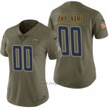 Maglia NFL Limited Donna Los Angeles Chargers Personalizzate 2017 Salute To Service Verde