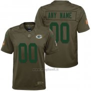 Maglia NFL Limited Bambino Green Bay Packers Personalizzate Salute To Service Verde