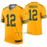 Maglia NFL Legend Green Bay Packers 12 Aaron Rodgers Inverted Or