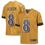 Maglia NFL Game Bambino Baltimore Ravens Lamar Jackson Inverted Gold