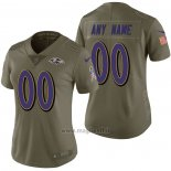 Maglia NFL Limited Donna Baltimore Ravens Personalizzate 2017 Salute To Service Verde