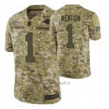 Maglia NFL Limited Carolina Panthers 1 Cam Newton 2018 Salute To Service Camuffamento